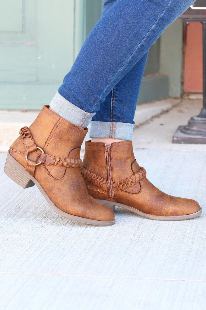 Glorious Braided Strap + Ring Bootie {Tan} - The Fair Lady Boutique - 1