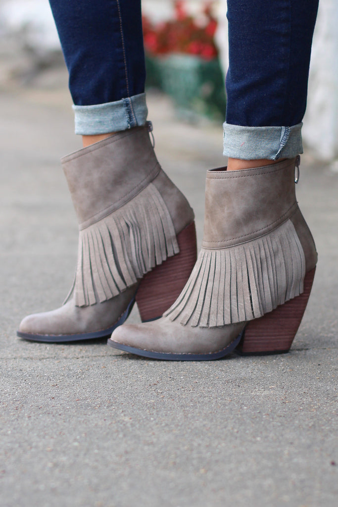Very Volatile: Khloe Fringe Bootie {Taupe} - The Fair Lady Boutique - 1