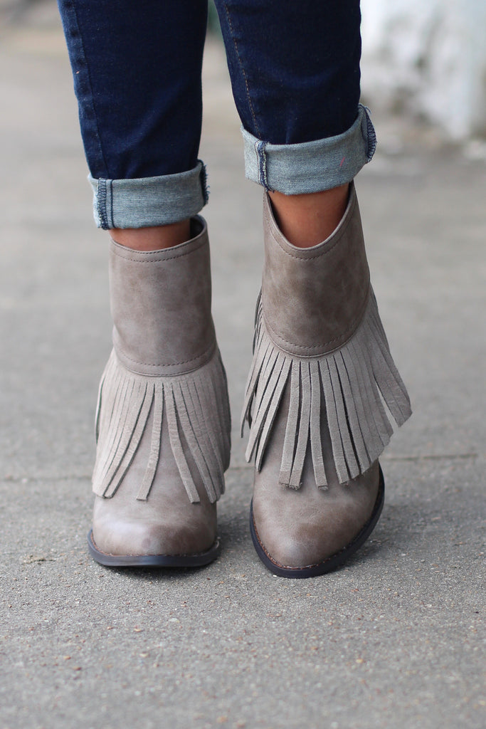 Very Volatile: Khloe Fringe Bootie {Taupe} - The Fair Lady Boutique - 2