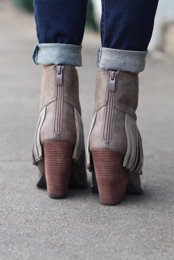 Very Volatile: Khloe Fringe Bootie {Taupe} - The Fair Lady Boutique - 3