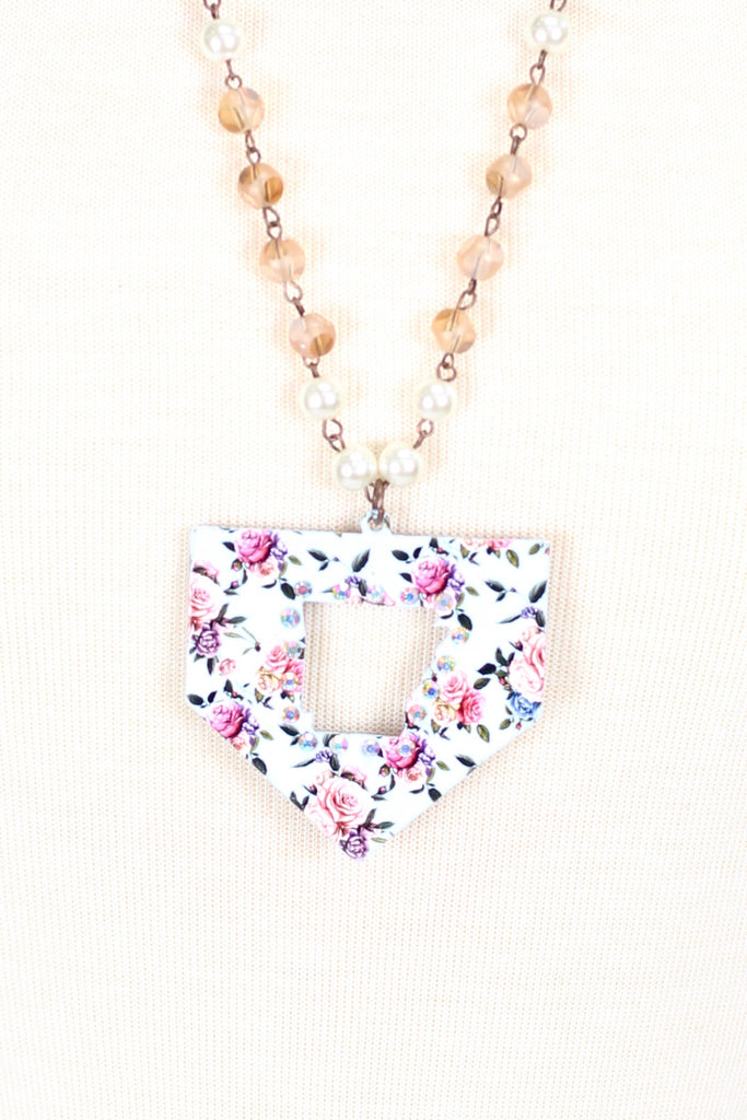 L. Blue Floral Arkanas Cut Out Necklace