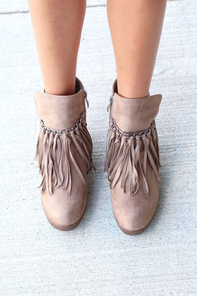 Candy Fringe Front Suede Wedge Bootie {Taupe} - The Fair Lady Boutique - 2