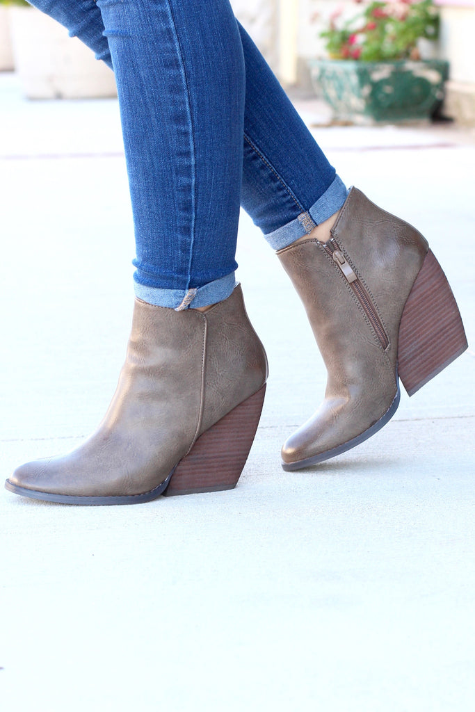 Very Volatile: Gwen Wedge Bootie {Taupe} - The Fair Lady Boutique - 1