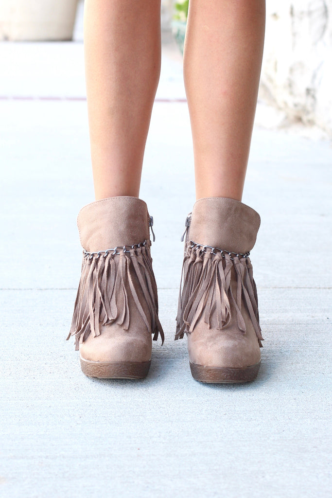 Candy Fringe Front Suede Wedge Bootie {Taupe} - The Fair Lady Boutique - 3