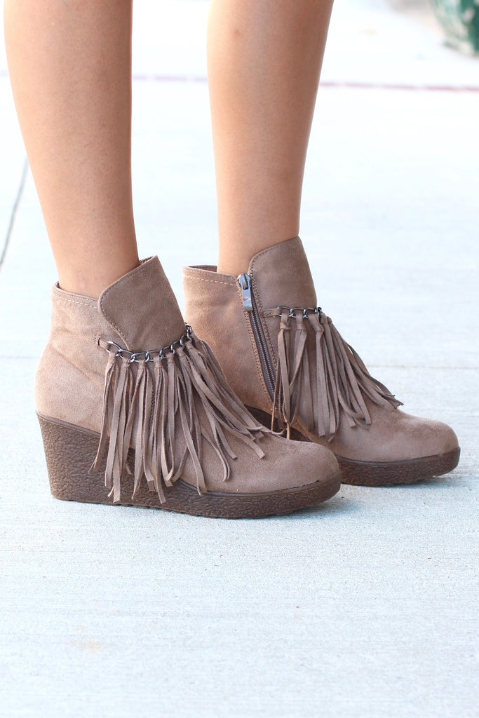 Candy Fringe Front Suede Wedge Bootie {Taupe} - The Fair Lady Boutique - 1