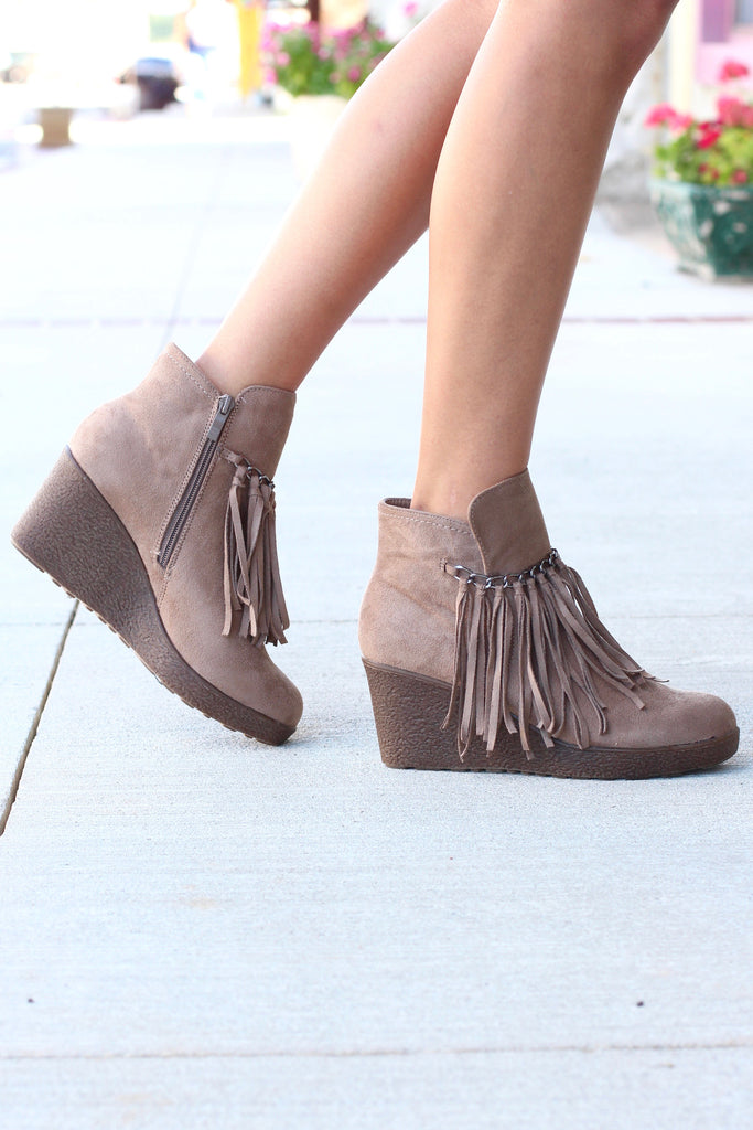 Candy Fringe Front Suede Wedge Bootie {Taupe} - The Fair Lady Boutique - 4