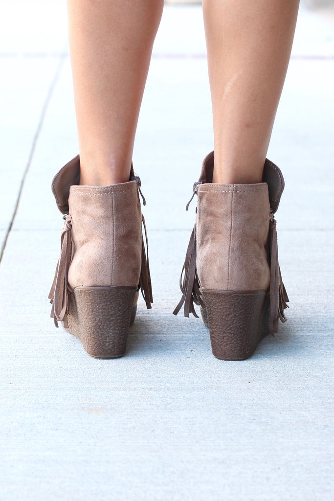 Candy Fringe Front Suede Wedge Bootie {Taupe} - The Fair Lady Boutique - 5