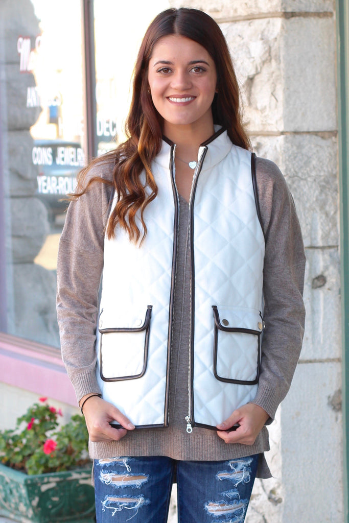 Snow Bunny Quilted Vest {White} - The Fair Lady Boutique - 1