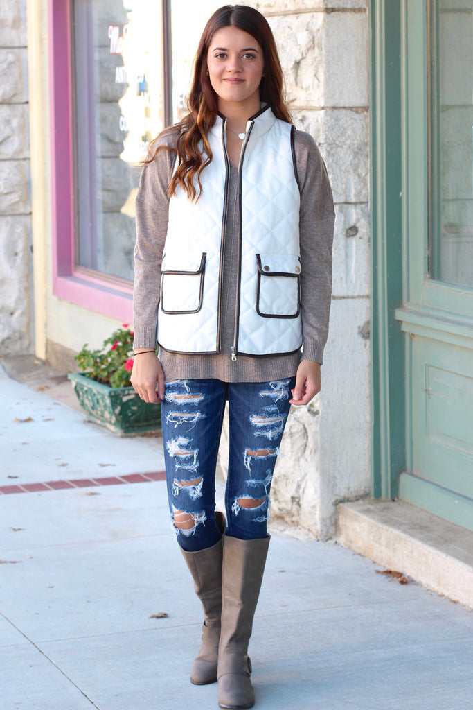 Snow Bunny Quilted Vest {White} - The Fair Lady Boutique - 2