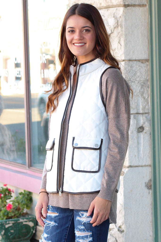 Snow Bunny Quilted Vest {White} - The Fair Lady Boutique - 3