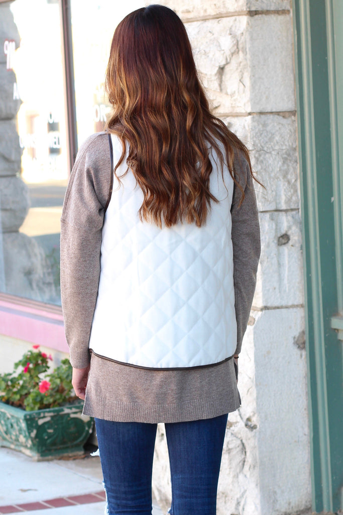 Snow Bunny Quilted Vest {White} - The Fair Lady Boutique - 4