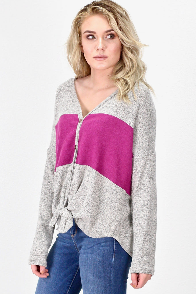 Tie Front Varsity Stripe Brushed Hacci L/S {Orchid}