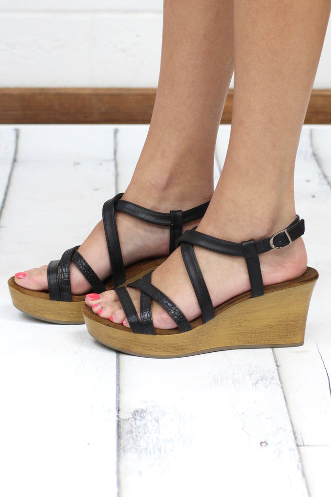 Brooke Strappy Crocodile Accent Wedges {Black}