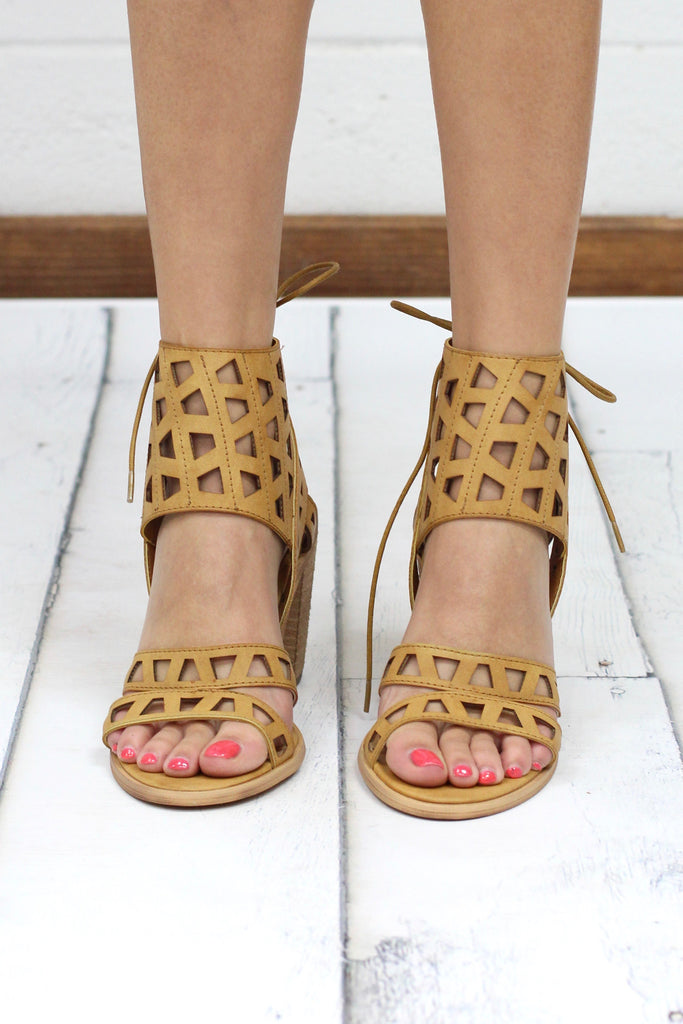 Very Volatile: Braylon Laser Cut Lace Up Heel {Tan}