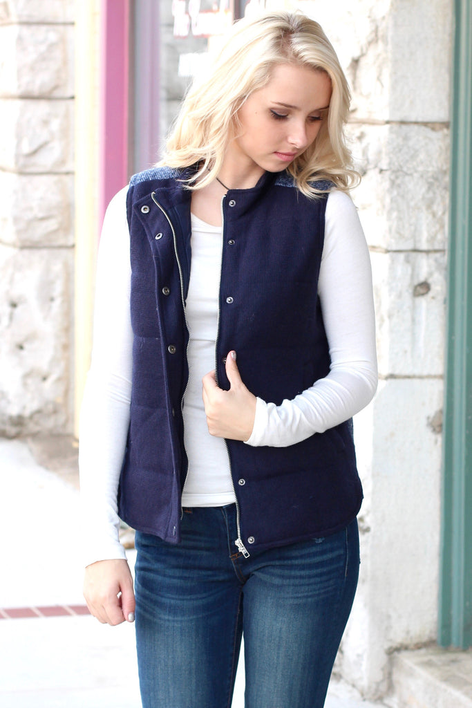 Sweater Weather Contrast Back Quilted Vest {Navy} - The Fair Lady Boutique - 2