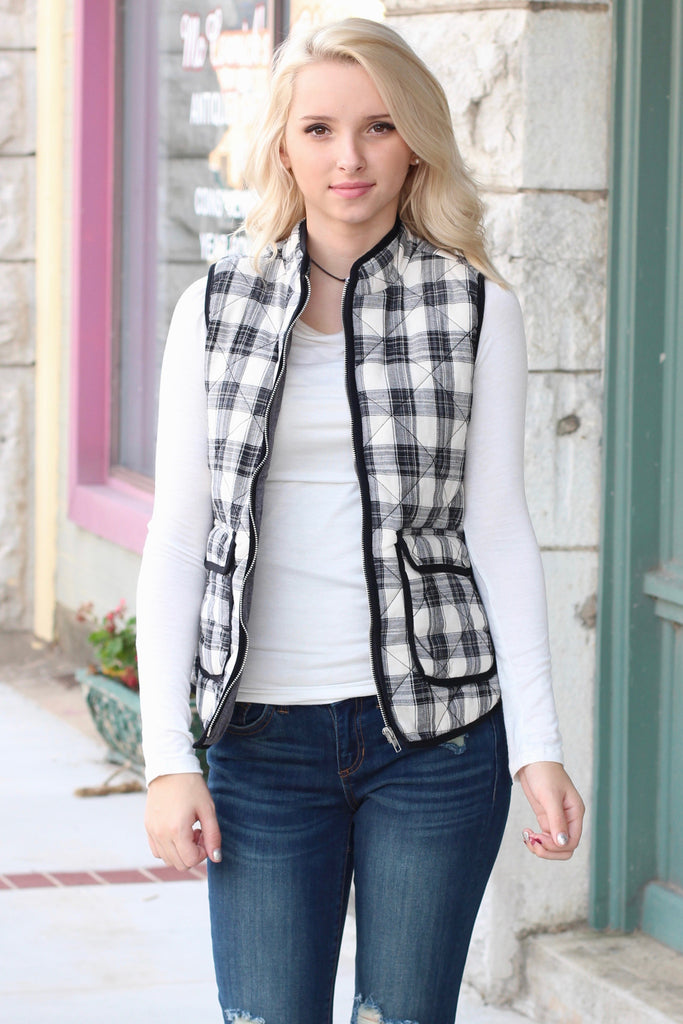 Mad Plaid Puffer Vest {Black+White} - The Fair Lady Boutique - 2