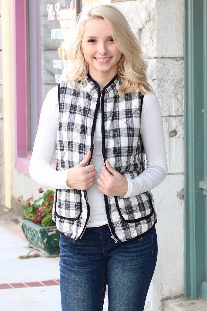Mad Plaid Puffer Vest {Black+White} - The Fair Lady Boutique - 1