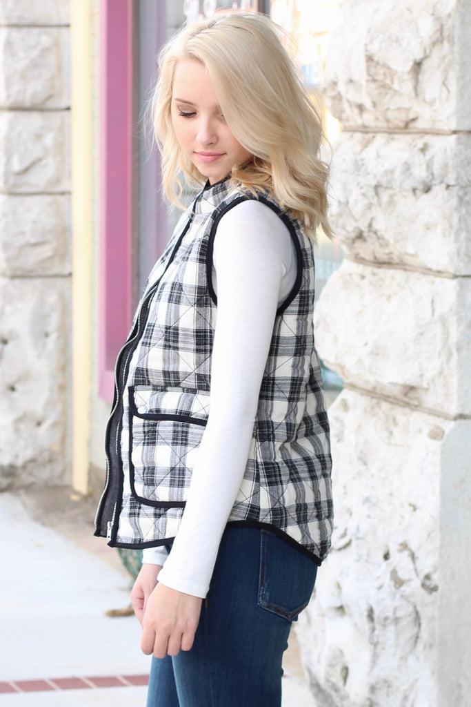 Mad Plaid Puffer Vest {Black+White} - The Fair Lady Boutique - 3