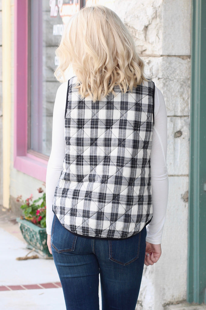 Mad Plaid Puffer Vest {Black+White} - The Fair Lady Boutique - 4