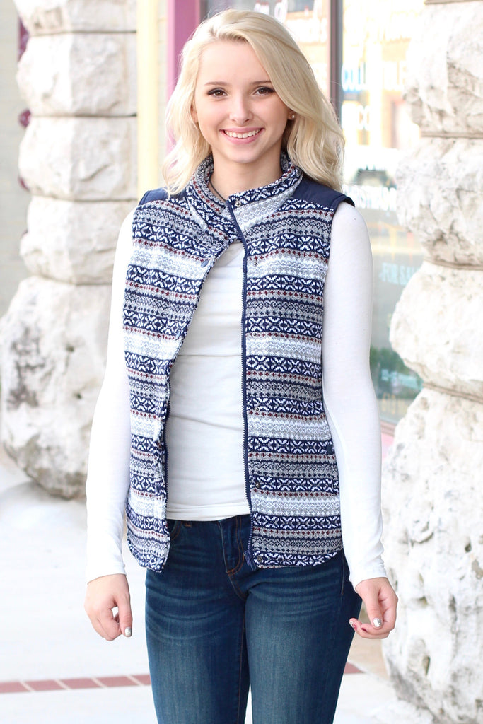 Hitting the Slopes Quilted Padded Vest {Navy+Grey} - The Fair Lady Boutique - 3