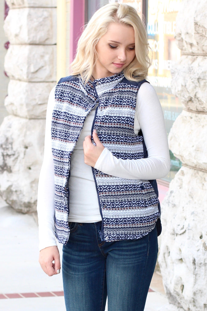 Hitting the Slopes Quilted Padded Vest {Navy+Grey} - The Fair Lady Boutique - 1