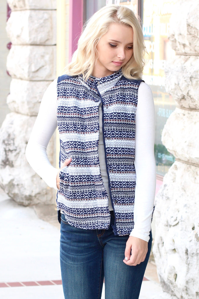 Hitting the Slopes Quilted Padded Vest {Navy+Grey} - The Fair Lady Boutique - 2