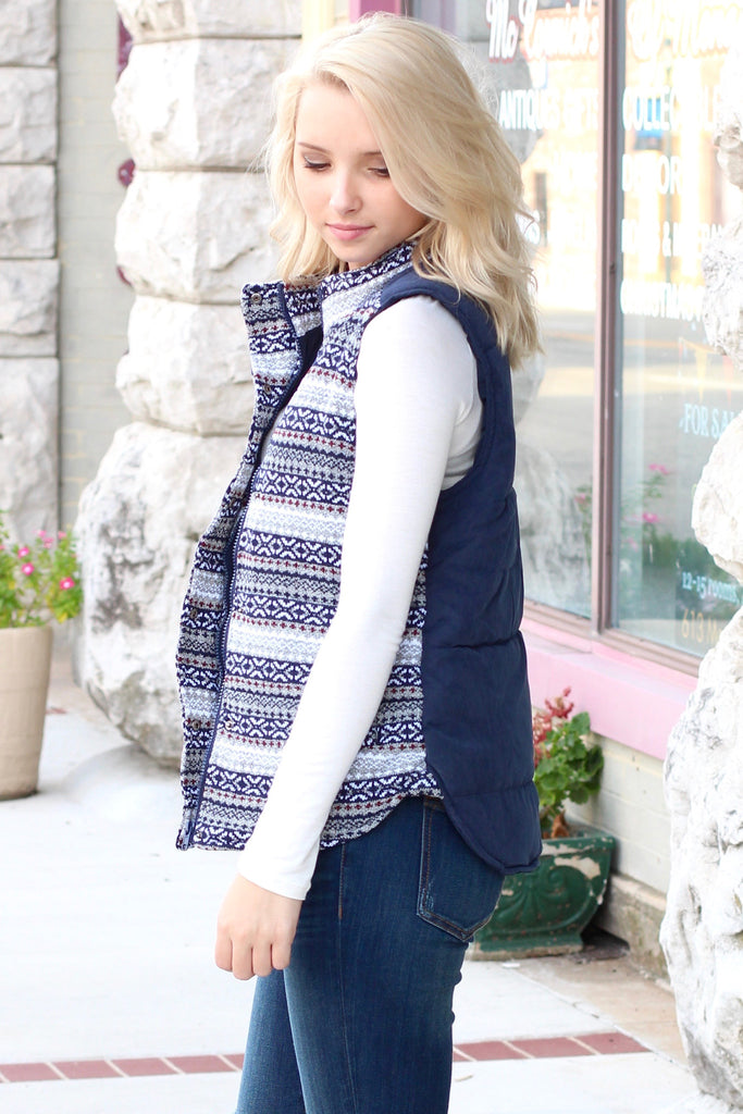 Hitting the Slopes Quilted Padded Vest {Navy+Grey} - The Fair Lady Boutique - 4