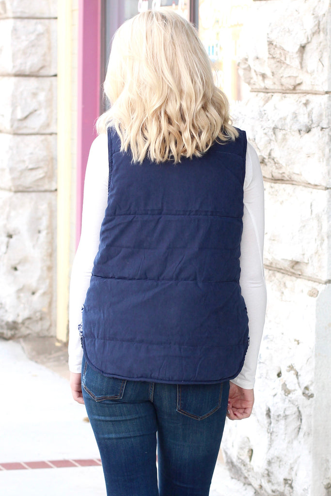 Hitting the Slopes Quilted Padded Vest {Navy+Grey} - The Fair Lady Boutique - 5