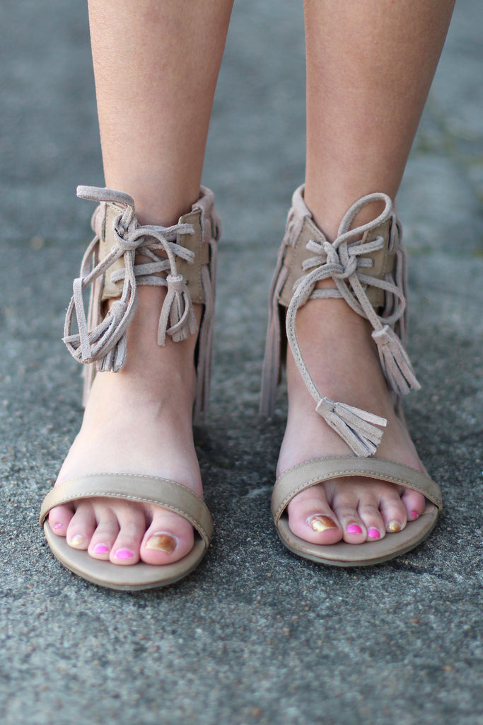 Very Volatile: Aubrey Fringe Tie Sandal {Taupe} - The Fair Lady Boutique - 2