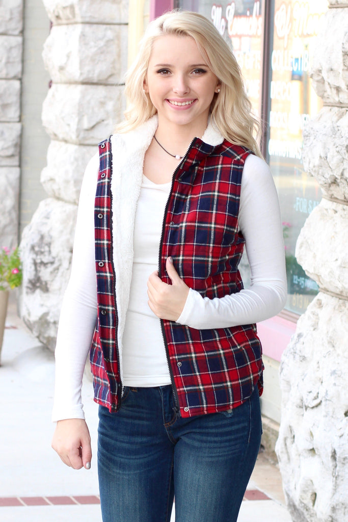 Fur Lined Plaid Puffer Vest {Red+Navy} - The Fair Lady Boutique - 1