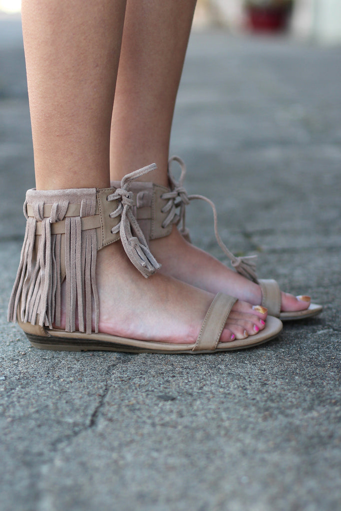 Very Volatile: Aubrey Fringe Tie Sandal {Taupe} - The Fair Lady Boutique - 3