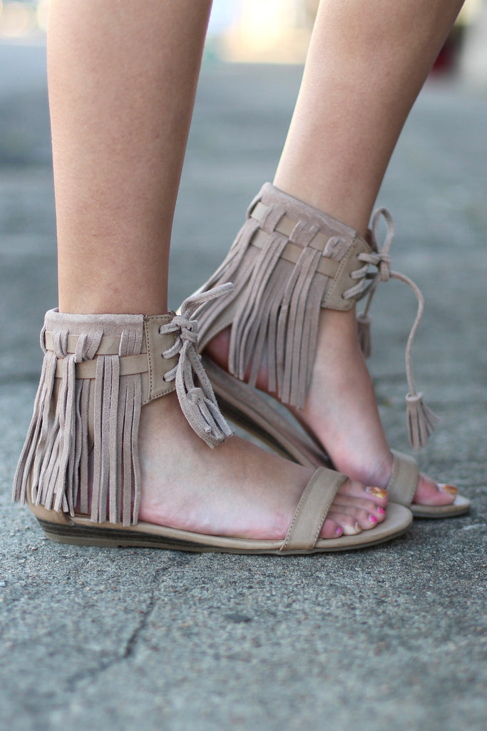 Very Volatile: Aubrey Fringe Tie Sandal {Taupe} - The Fair Lady Boutique - 1