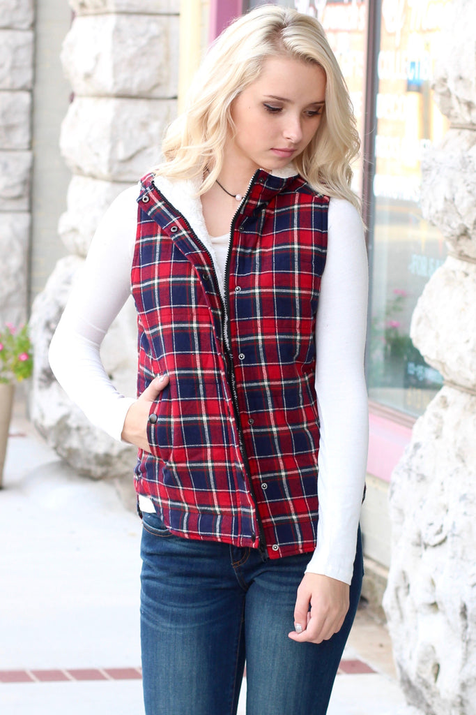 Fur Lined Plaid Puffer Vest {Red+Navy} - The Fair Lady Boutique - 3