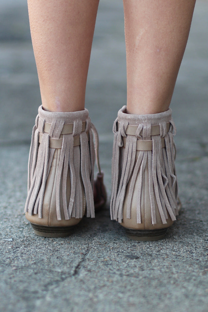 Very Volatile: Aubrey Fringe Tie Sandal {Taupe} - The Fair Lady Boutique - 4