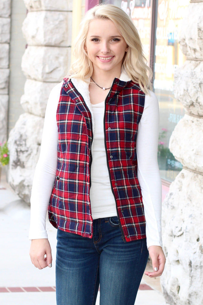 Fur Lined Plaid Puffer Vest {Red+Navy} - The Fair Lady Boutique - 2