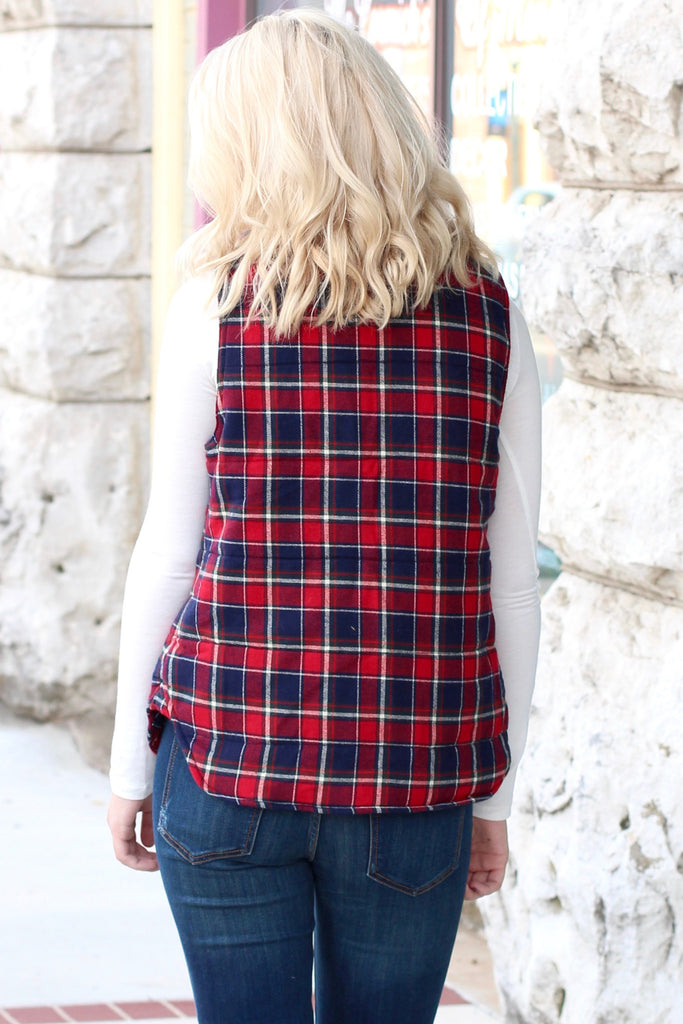 Fur Lined Plaid Puffer Vest {Red+Navy} - The Fair Lady Boutique - 5