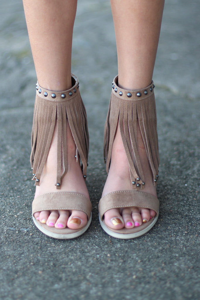 Very Volatile: Lux Fringe High Heel Sandal {Taupe} - The Fair Lady Boutique - 3