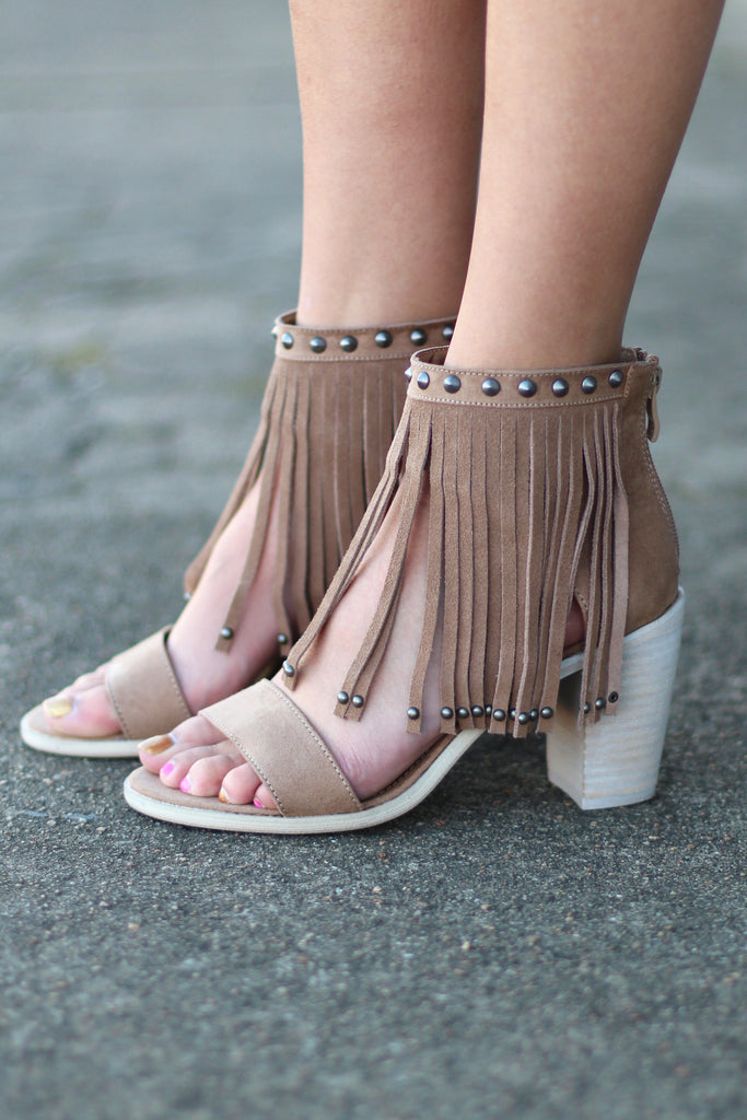 Very Volatile: Lux Fringe High Heel Sandal {Taupe} - The Fair Lady Boutique - 2
