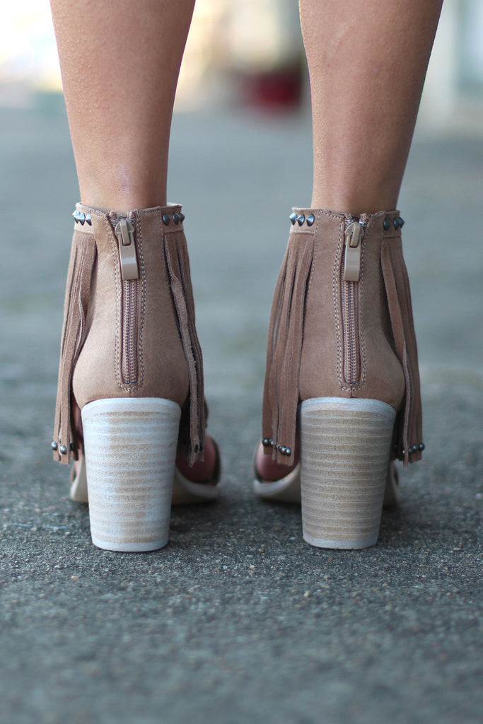 Very Volatile: Lux Fringe High Heel Sandal {Taupe} - The Fair Lady Boutique - 4