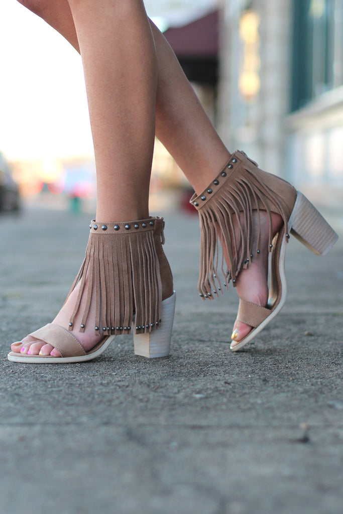 Very Volatile: Lux Fringe High Heel Sandal {Taupe} - The Fair Lady Boutique - 1