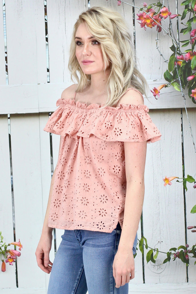 ELAN: Off Shoulder Lace Eyelet Blouse {Pale Pink}