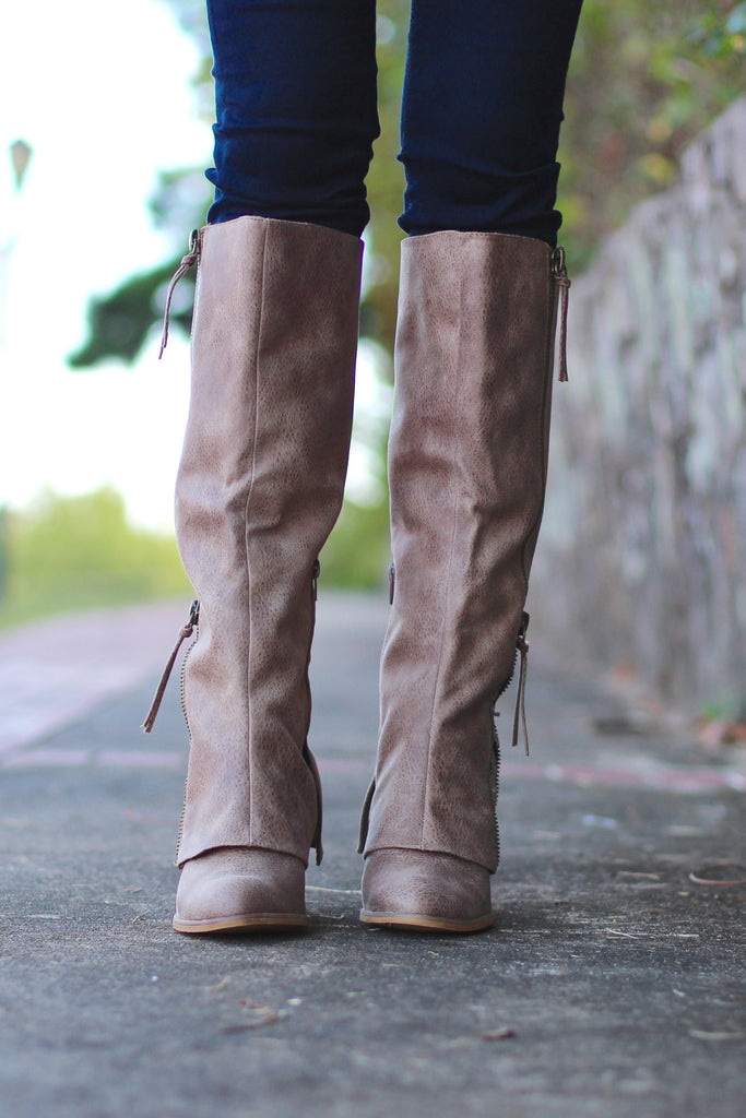 Not Rated: Lace Insert Boots {Taupe} - The Fair Lady Boutique - 3