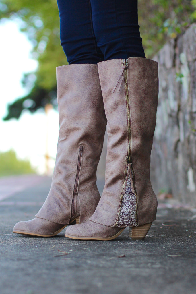 Not Rated: Lace Insert Boots {Taupe} - The Fair Lady Boutique - 2