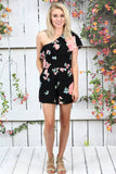 Maui Babe One Shoulder Ruffle Romper {Black}