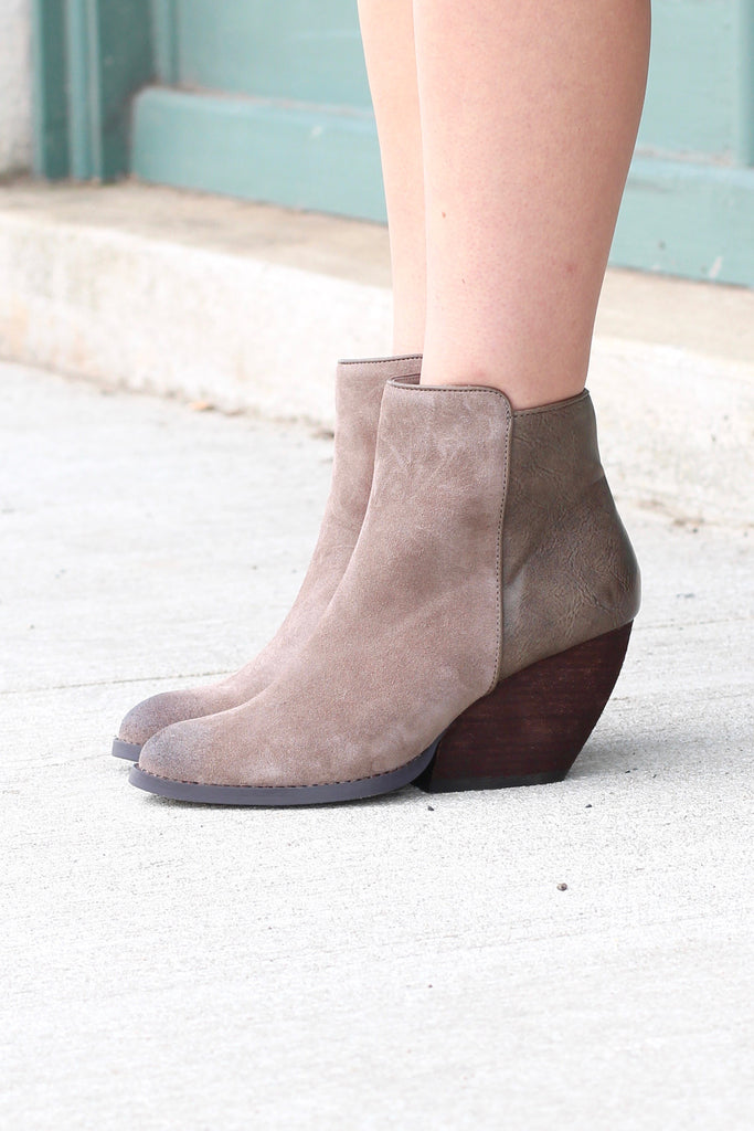 Very Volatile: Indie Suede + Leather Wedge Bootie {Taupe} - The Fair Lady Boutique - 4