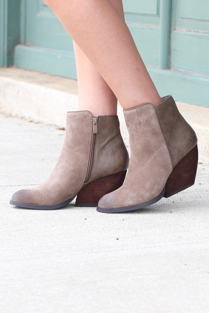 Very Volatile: Indie Suede + Leather Wedge Bootie {Taupe} - The Fair Lady Boutique - 2
