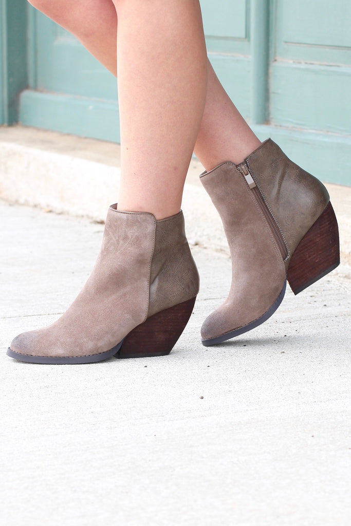 Very Volatile: Indie Suede + Leather Wedge Bootie {Taupe} - The Fair Lady Boutique - 1