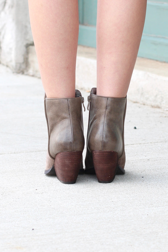 Very Volatile: Indie Suede + Leather Wedge Bootie {Taupe} - The Fair Lady Boutique - 5