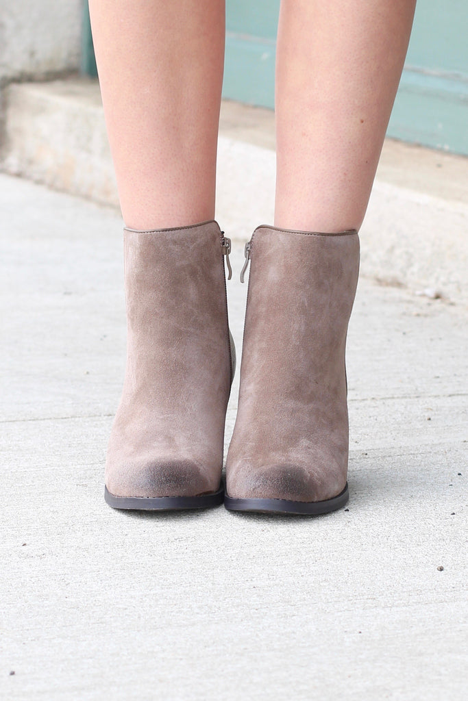 Very Volatile: Indie Suede + Leather Wedge Bootie {Taupe} - The Fair Lady Boutique - 6