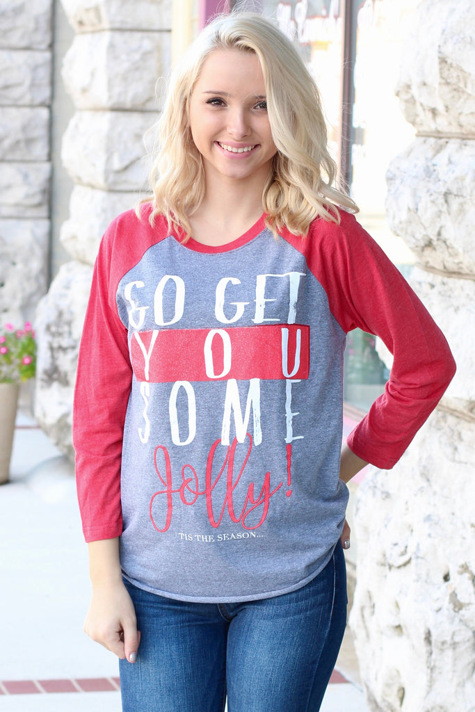 Go Get You Some Jolly Raglan {H. Grey+Red} - The Fair Lady Boutique - 1